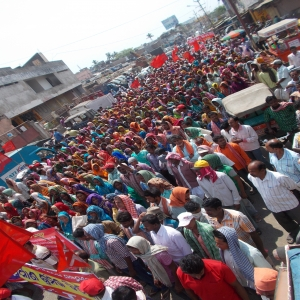 Construction workers demonstration - Brahmapur