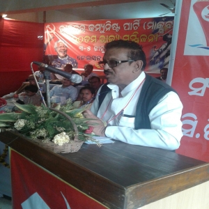 Com. Ali Kishor Patnaik speaking at the state conference after being elected as the new State Secretary