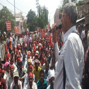 Construction workers demonstration - Cuttack