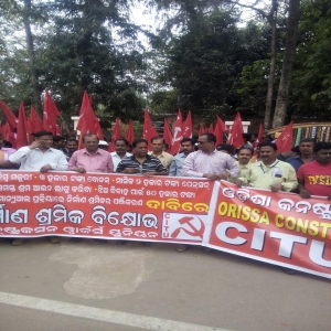 Construction workers demonstration - Rourkela